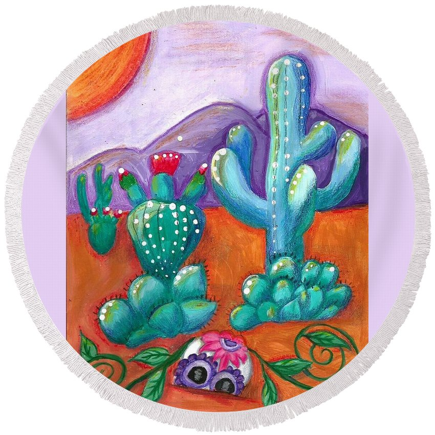 Sugar Skull Round Beach Towel featuring the painting Buried Sugar Skull in Desert by Monica Resinger