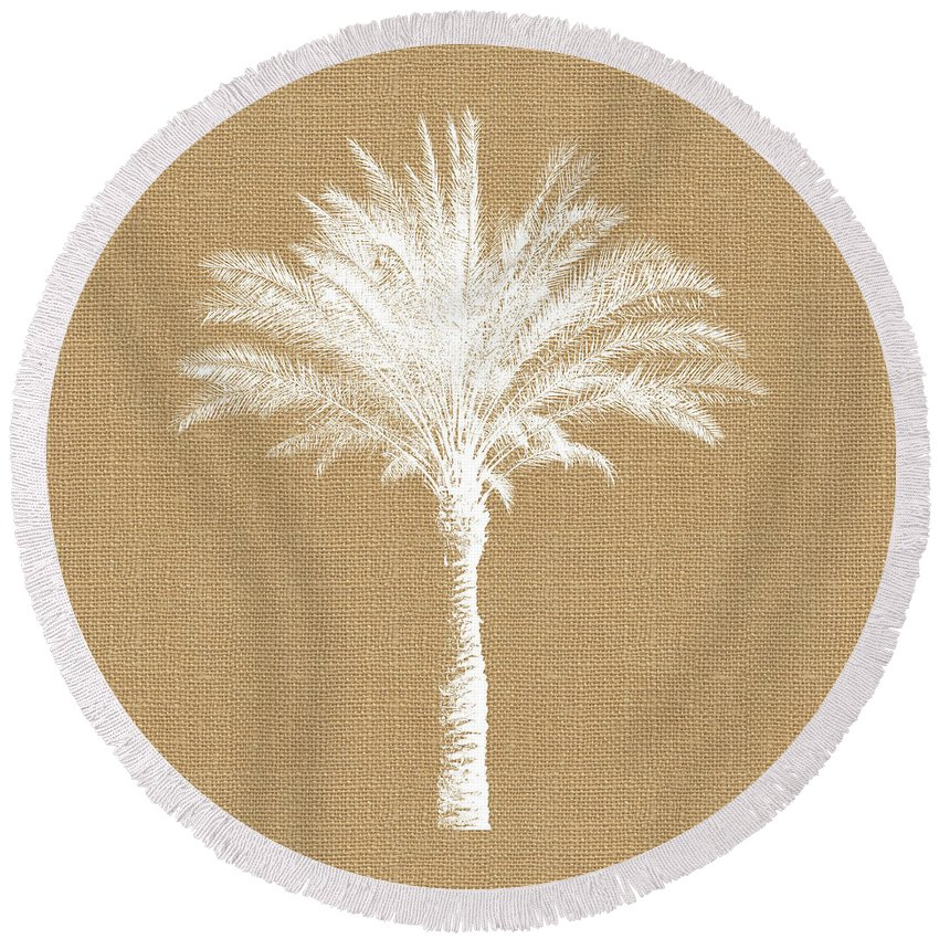 Palm Tree Round Beach Towel featuring the mixed media Burlap Palm Tree- Art by Linda Woods by Linda Woods