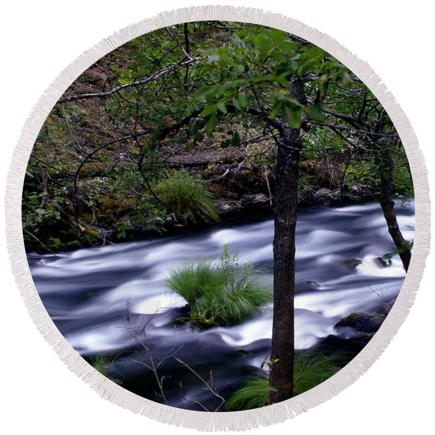 River Round Beach Towel featuring the photograph Burney Creek by Peter Piatt