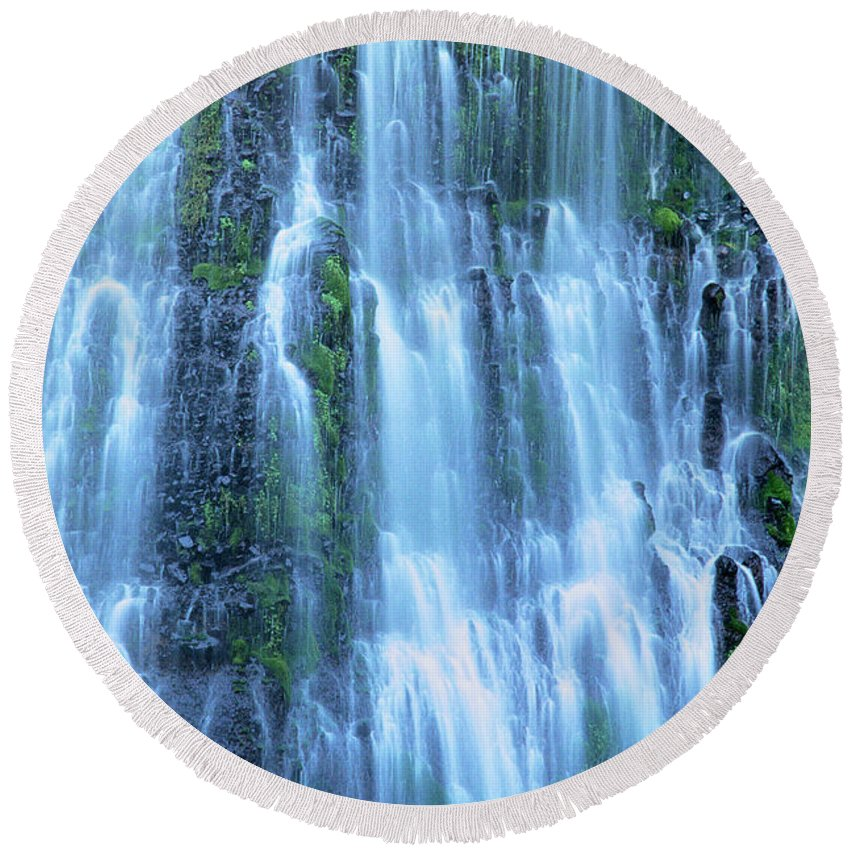 Burney Falls Round Beach Towel featuring the photograph Burney Falls Mist Mcarthur Burney Sp California by Dave Welling