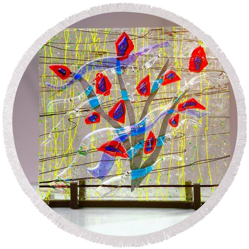 Fused Art Glass Round Beach Towel featuring the photograph Burning Bush by Mykel Davis