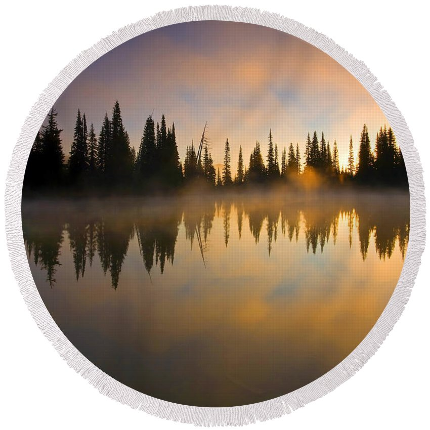 Lake Round Beach Towel featuring the photograph Burning Dawn by Mike Dawson