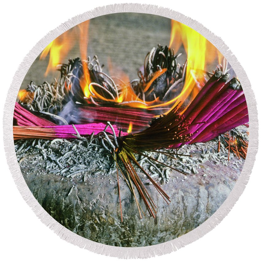 China Round Beach Towel featuring the photograph Burning Joss Sticks by Michele Burgess