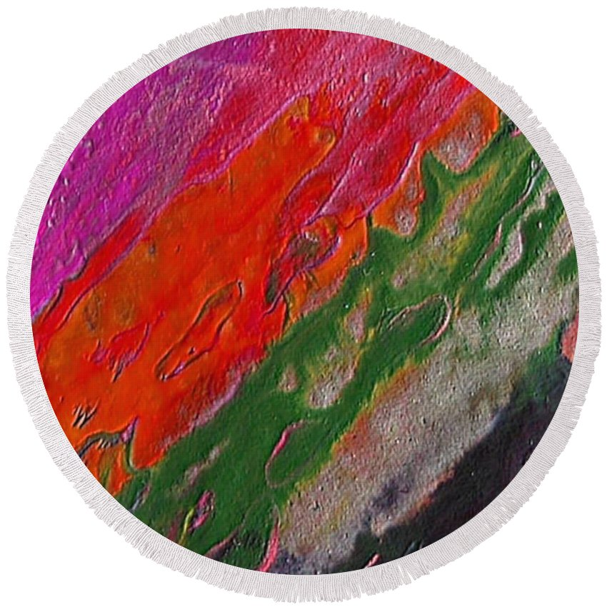 Abstract Encaustic Painting Round Beach Towel featuring the painting Burning Lava by Dragica Micki Fortuna