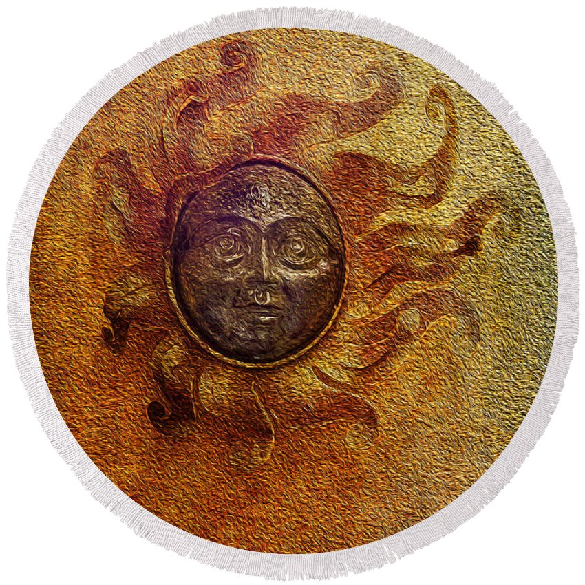 Round Beach Towel featuring the photograph Burning Sun by Jennifer Stackpole