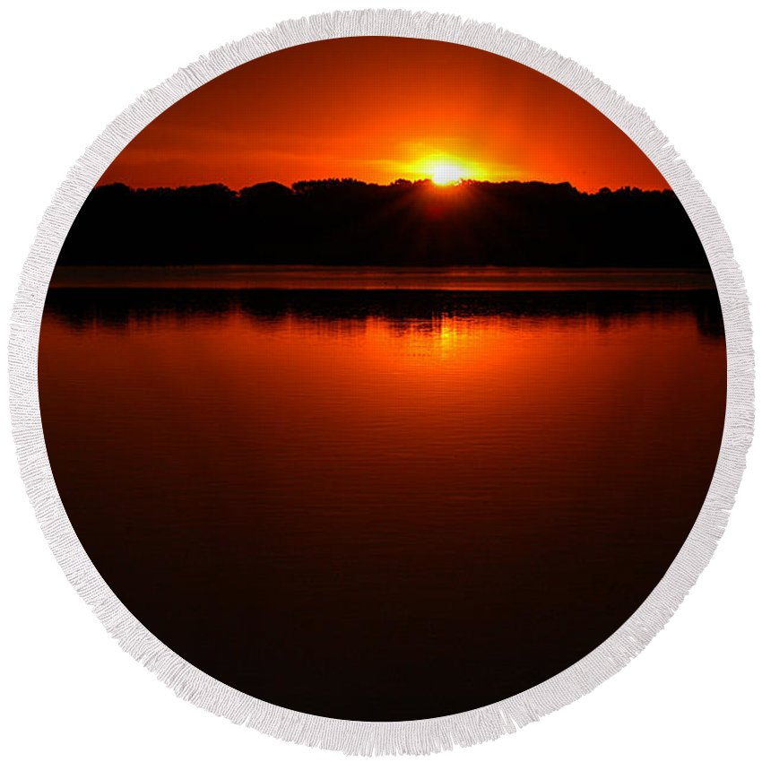 Clay Round Beach Towel featuring the photograph Burnt Orange Sunset On Water by Clayton Bruster