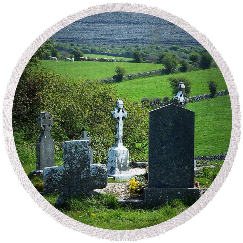 Irish Round Beach Towel featuring the photograph Burren Crosses County Clare Ireland by Teresa Mucha