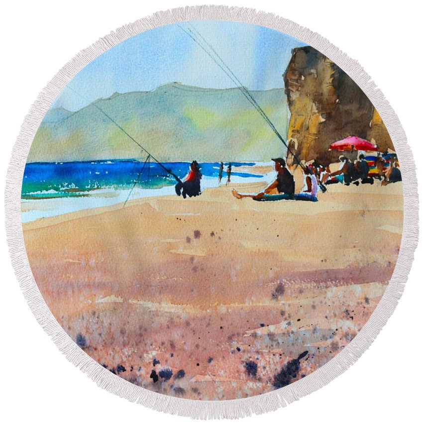 Burton Bradstock Round Beach Towel featuring the painting Burton Bradstock Beach by Ibolya Taligas