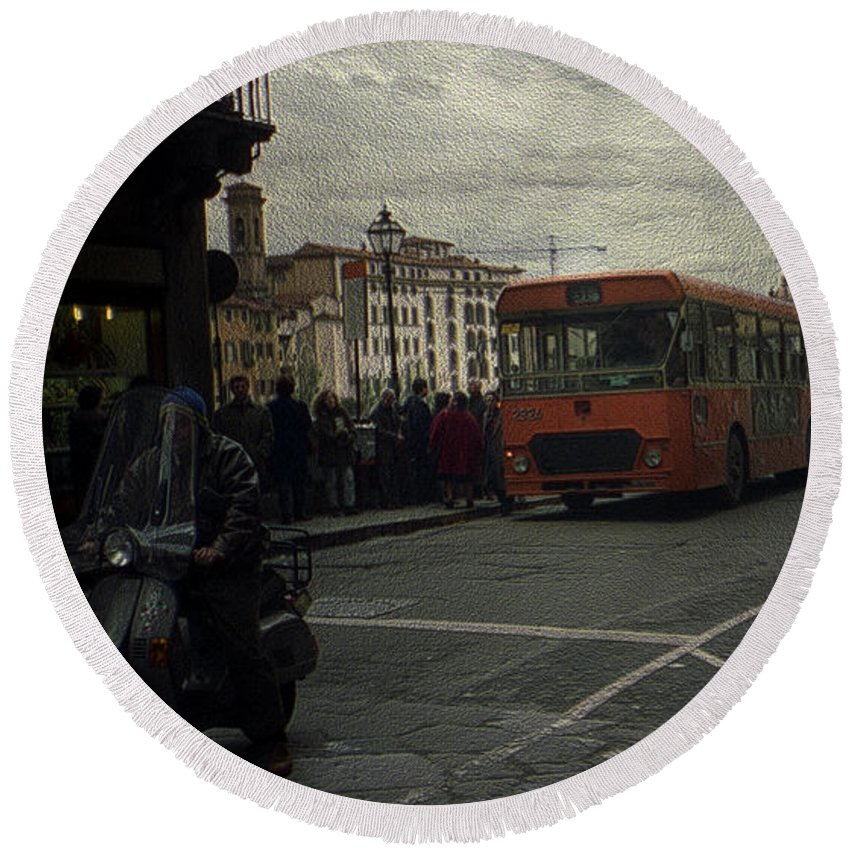Canvas Prints Round Beach Towel featuring the photograph Bus Stop by Maria Reverberi