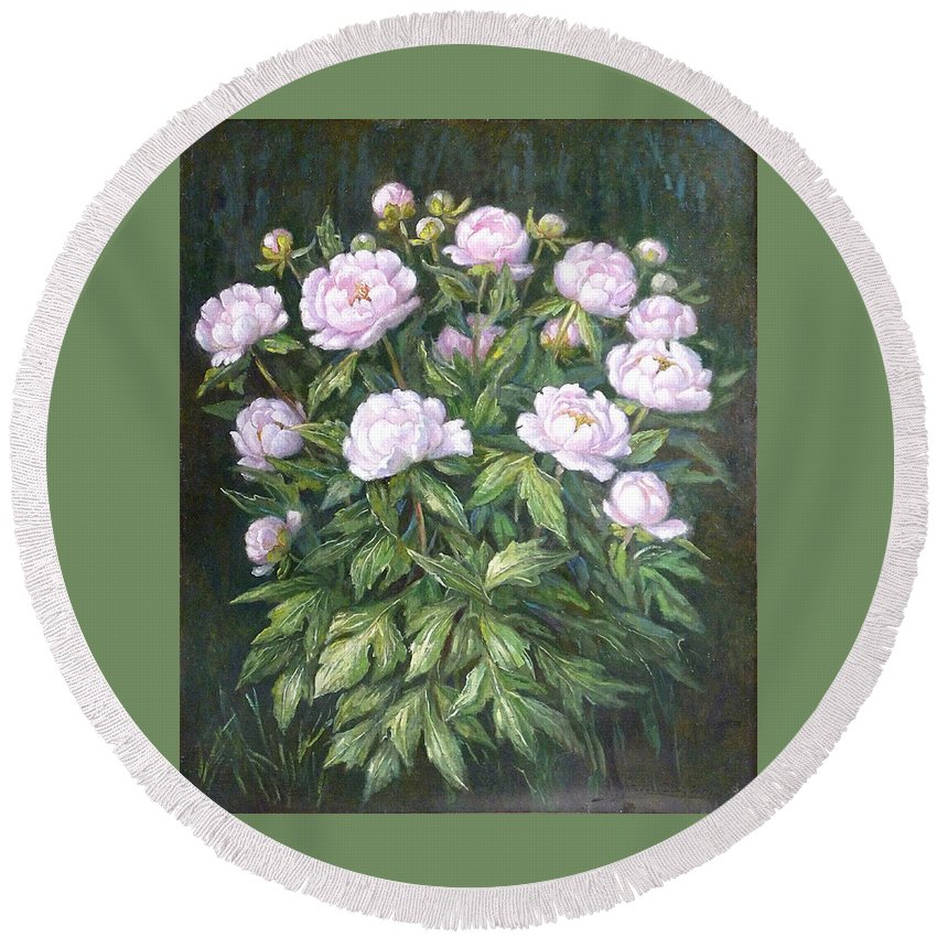 Oil Round Beach Towel featuring the painting Bush Of Pink Peonies by Zangar Beisembinov