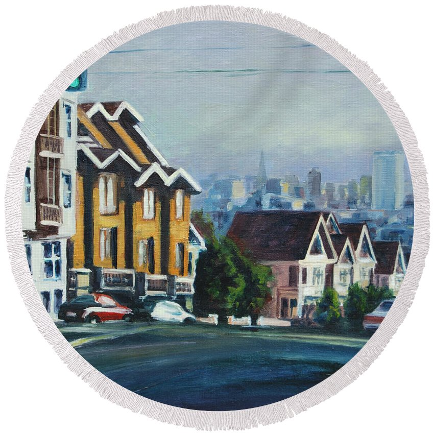 Cityscape Round Beach Towel featuring the painting Bush Street by Rick Nederlof