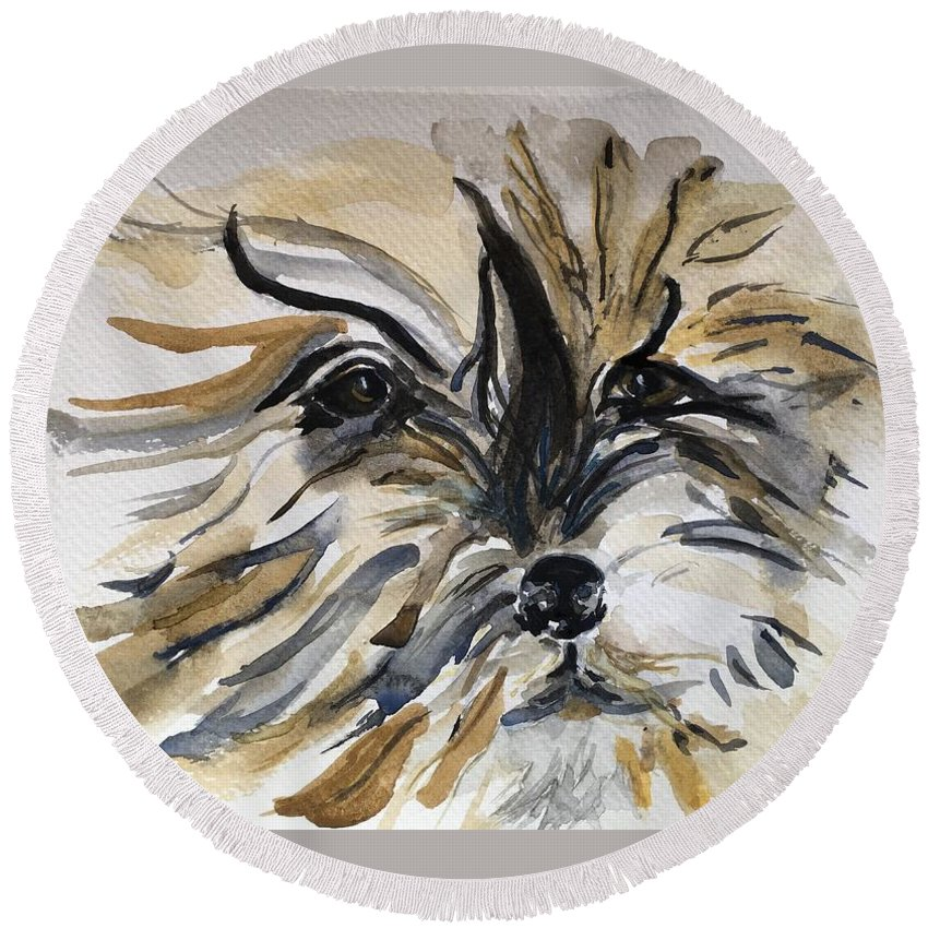 Dog Round Beach Towel featuring the painting Buster by Kate Byrne