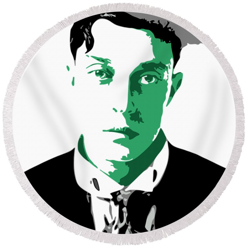 Buster Keaton Round Beach Towel featuring the digital art Buster Keaton by DB Artist