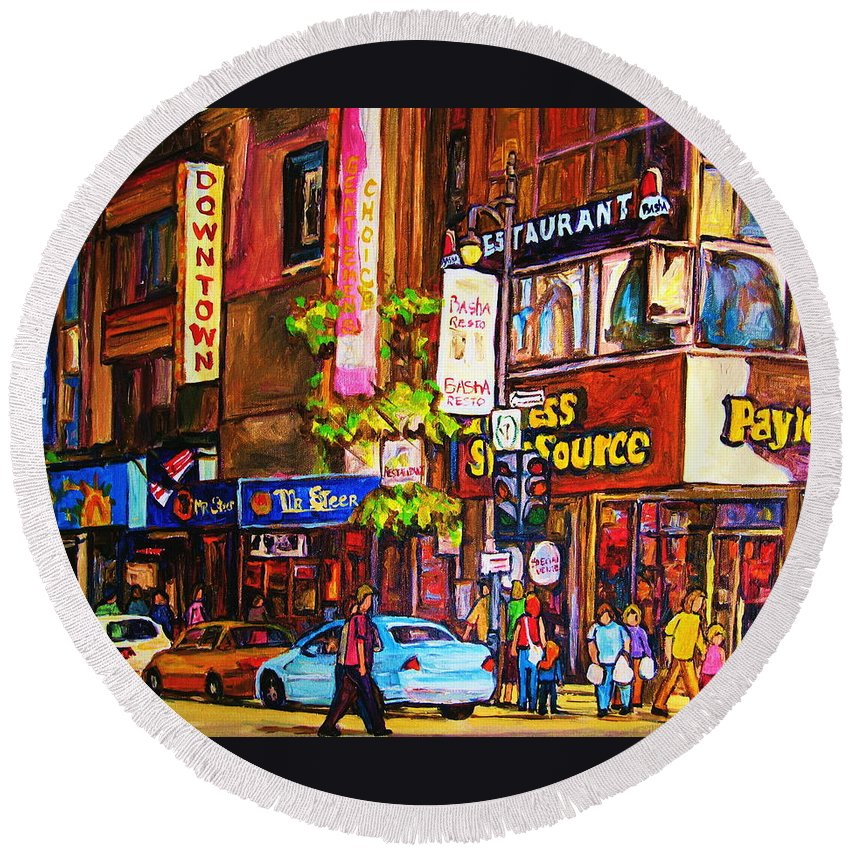 Cityscape Round Beach Towel featuring the painting Busy Downtown Street by Carole Spandau