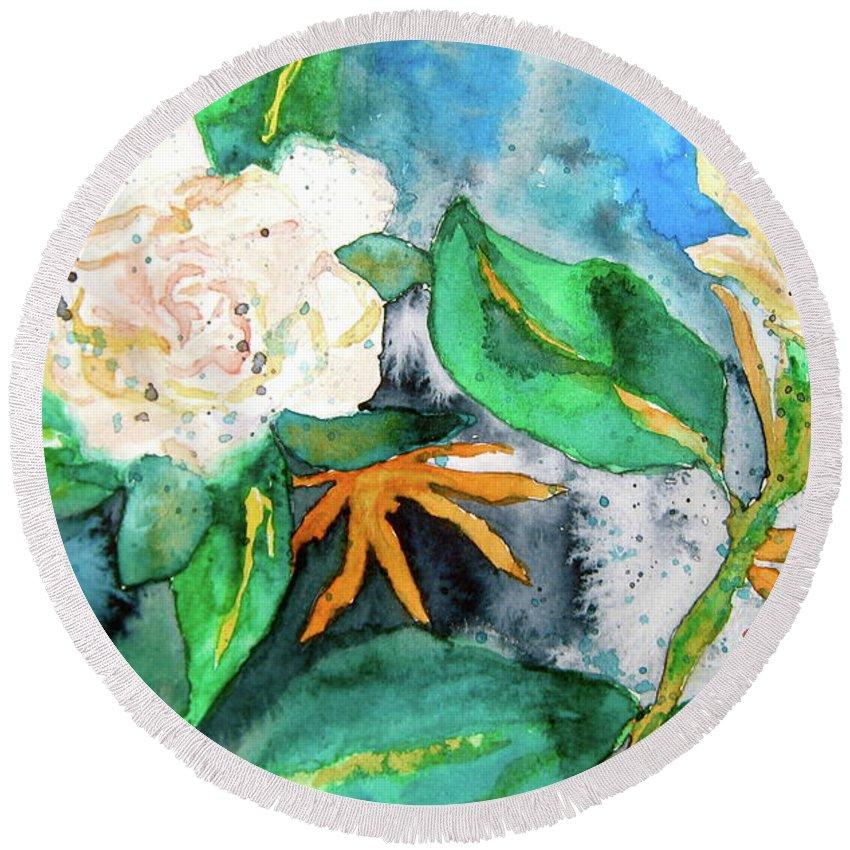 Gardenias Round Beach Towel featuring the painting Busy Gardenias by Beverley Harper Tinsley