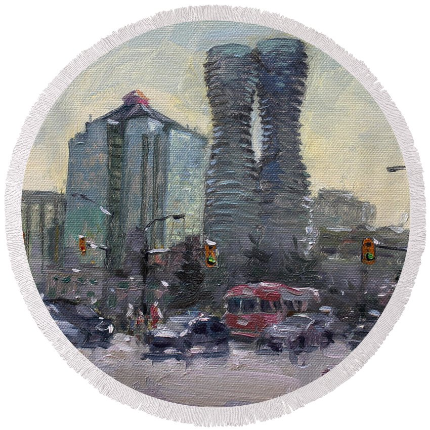 Busy Morning Round Beach Towel featuring the painting Busy Morning In Downtown Mississauga by Ylli Haruni