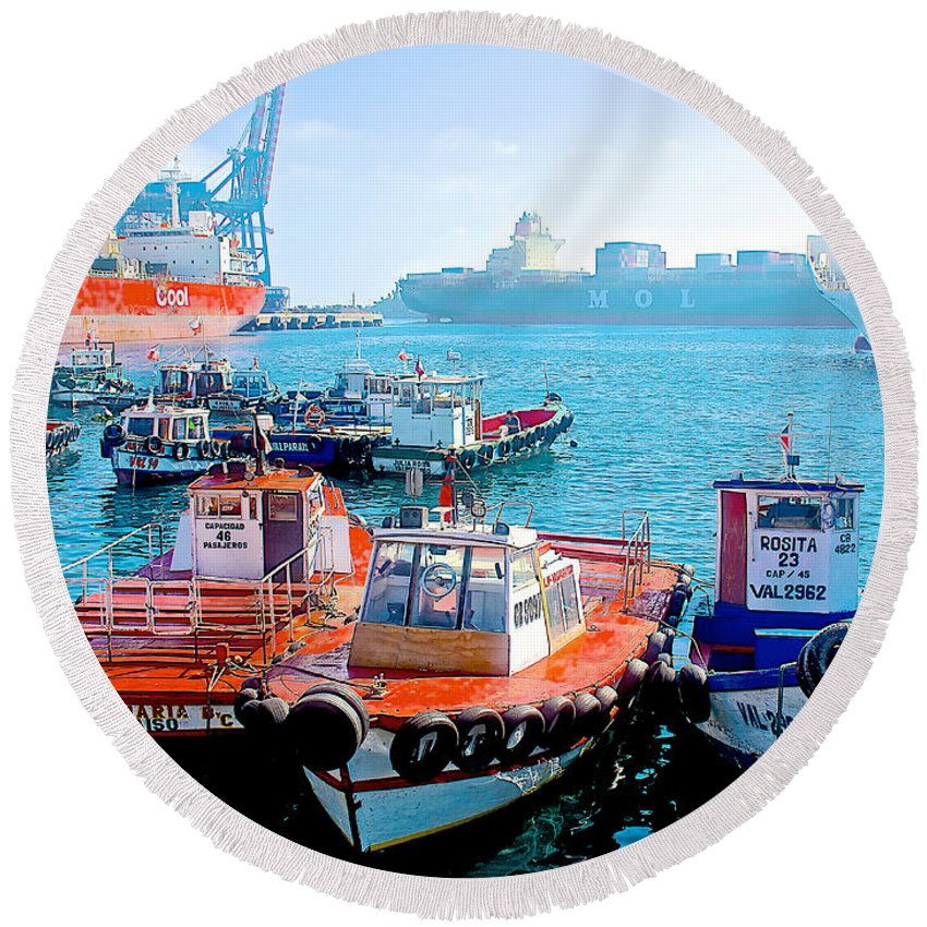 Busy Port Of Valparaiso Round Beach Towel featuring the photograph Busy Port Of Valparaiso-chile by Ruth Hager