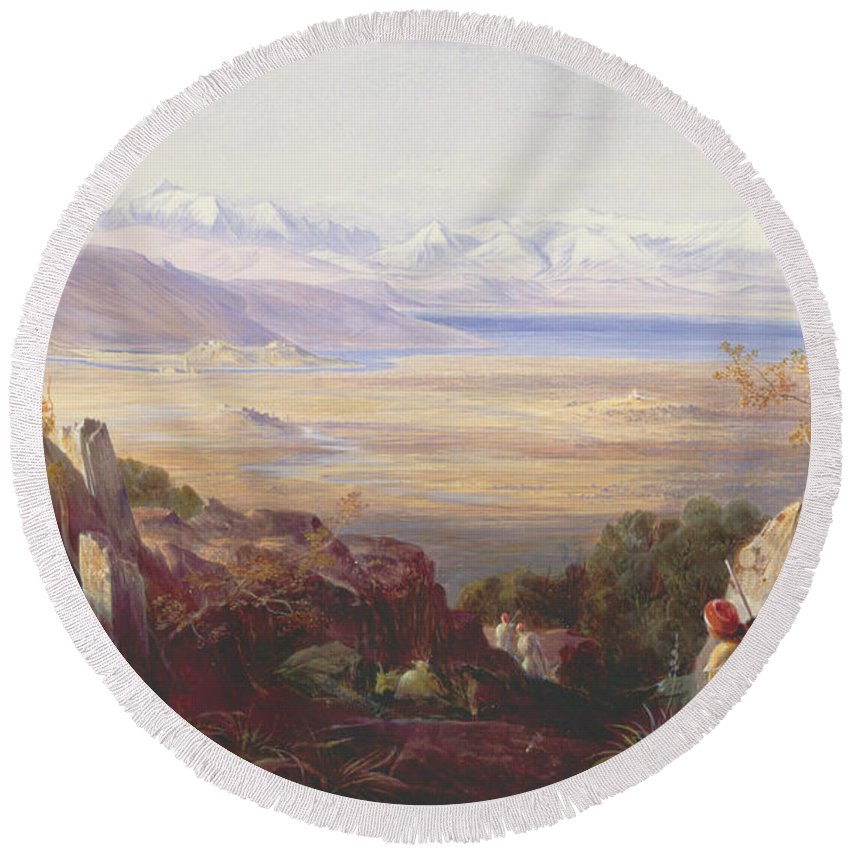 English Art Round Beach Towel featuring the painting Butrinto, Albania by Edward Lear