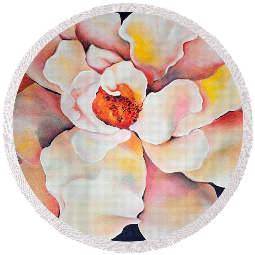 Large Floral Round Beach Towel featuring the painting Butter Flower by Jordana Sands