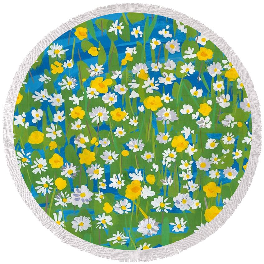 Daisy Round Beach Towel featuring the painting Buttercups And Daisies by Sarah Gillard