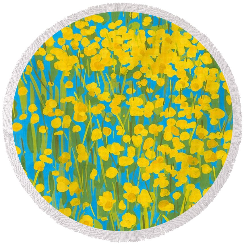 Flowers Round Beach Towel featuring the painting Buttercups by Sarah Gillard