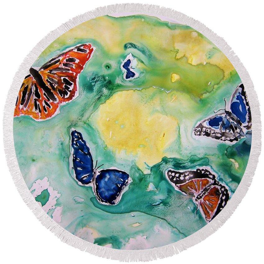 Watercolour Round Beach Towel featuring the painting Butterflies by Derek Mccrea
