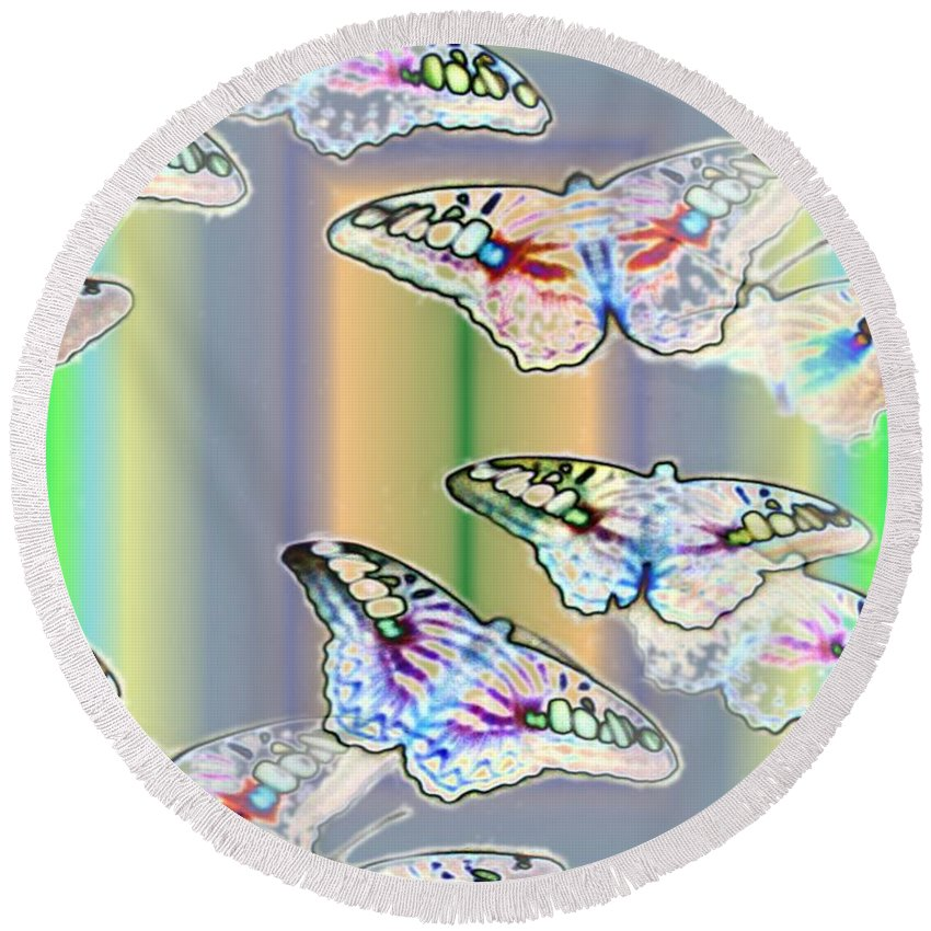 Butterflies Round Beach Towel featuring the photograph Butterflies In The Vortex by Tim Allen