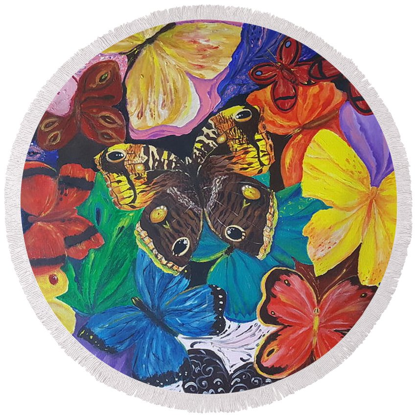 Butterfly Round Beach Towel featuring the painting Butterflies by Rita Fetisov
