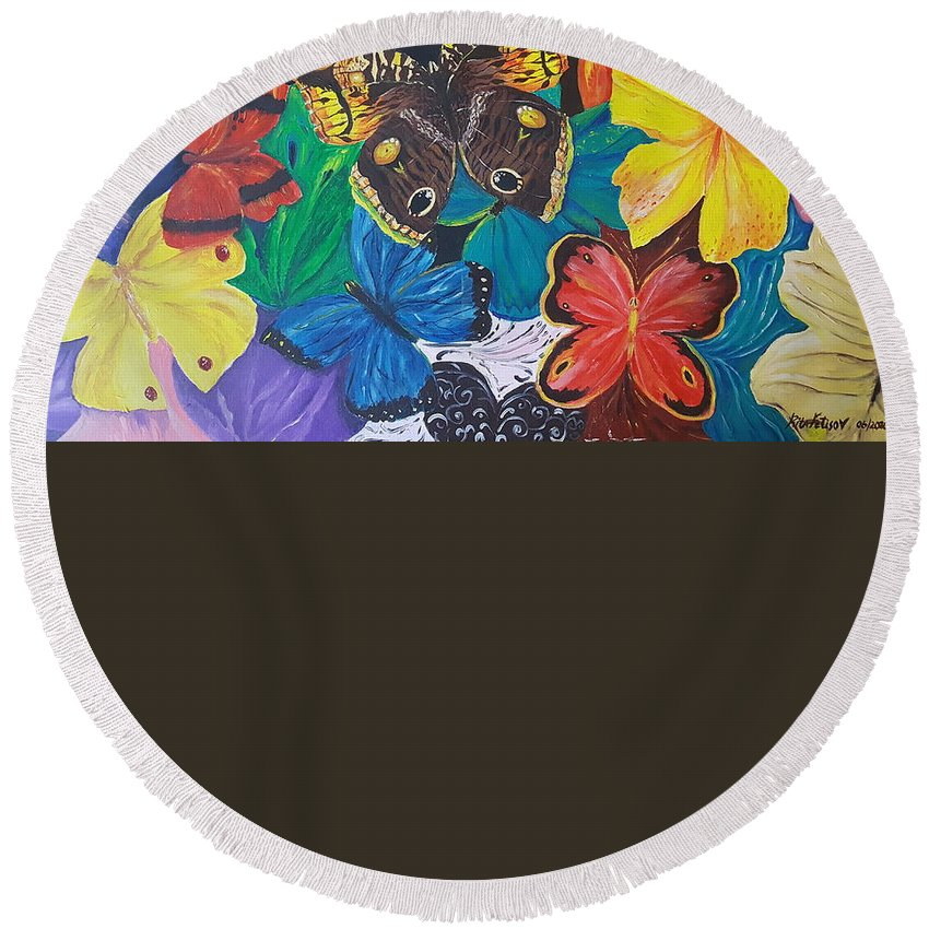 Butterfly Round Beach Towel featuring the painting Butterflies 2 by Rita Fetisov