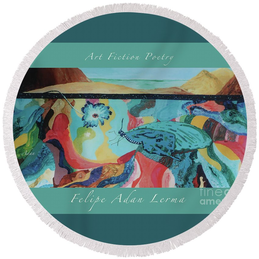 Original Oils Round Beach Towel featuring the photograph Butterfly And Hand Surreal Abstract Panorama Poster by Felipe Adan Lerma