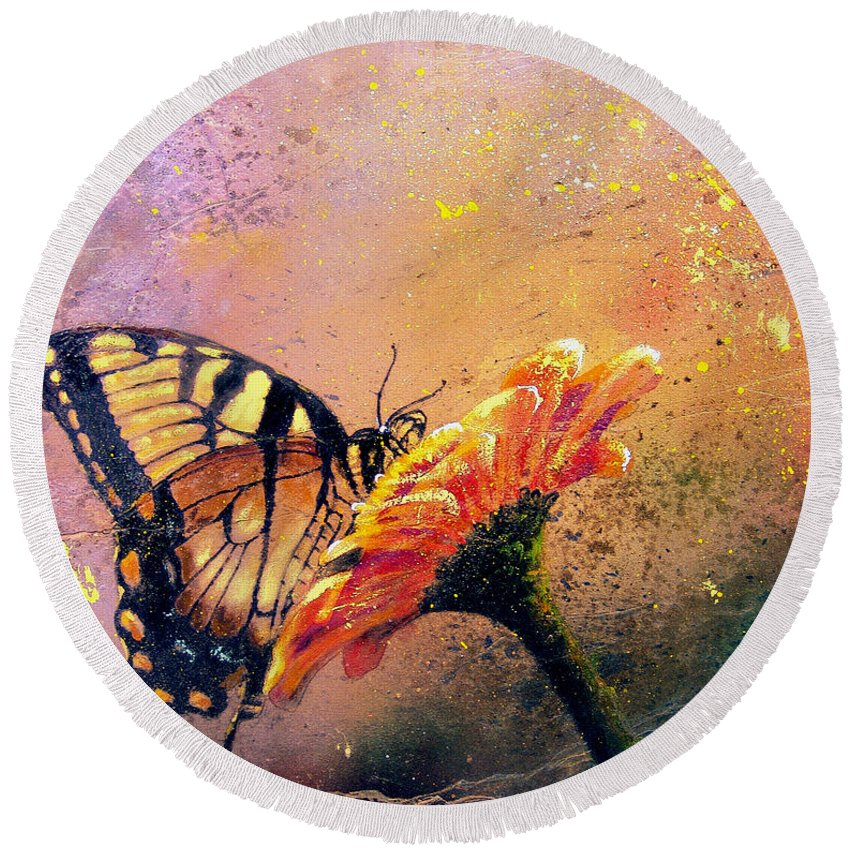 9d55bb814ed Nature Round Beach Towel featuring the painting Butterfly by Andrew King