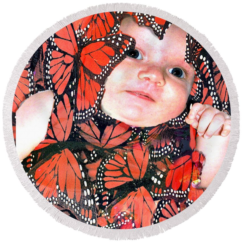 Butterfly Round Beach Towel featuring the photograph Butterfly Baby by Seth Weaver