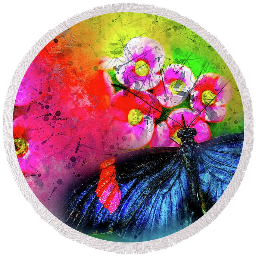Abstract Round Beach Towel featuring the photograph Butterfly Color Explosion by Kay Brewer
