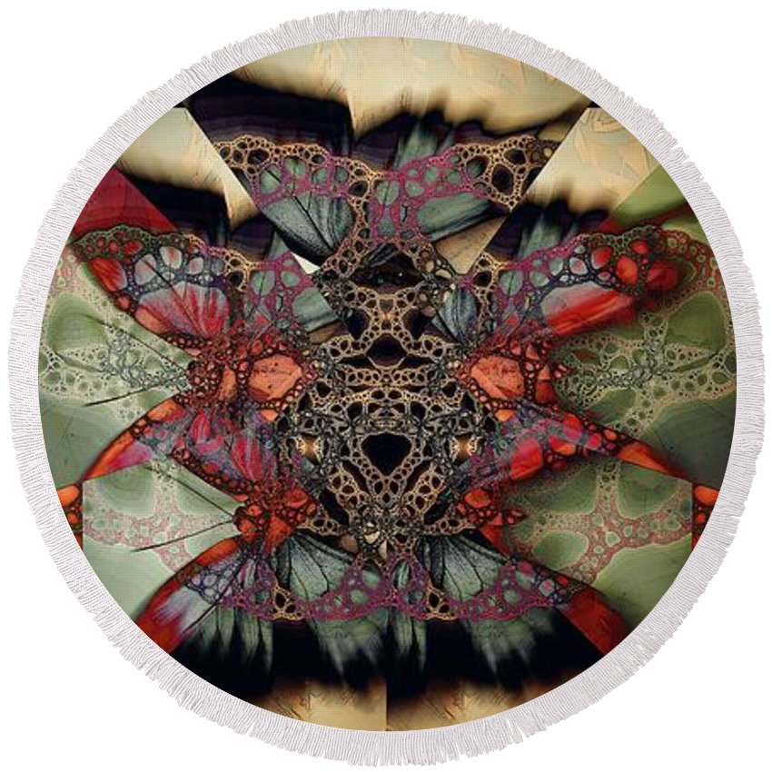 Butterfly Effect Round Beach Towel featuring the digital art Butterfly Effect 2 / Vintage Tones by Elizabeth McTaggart