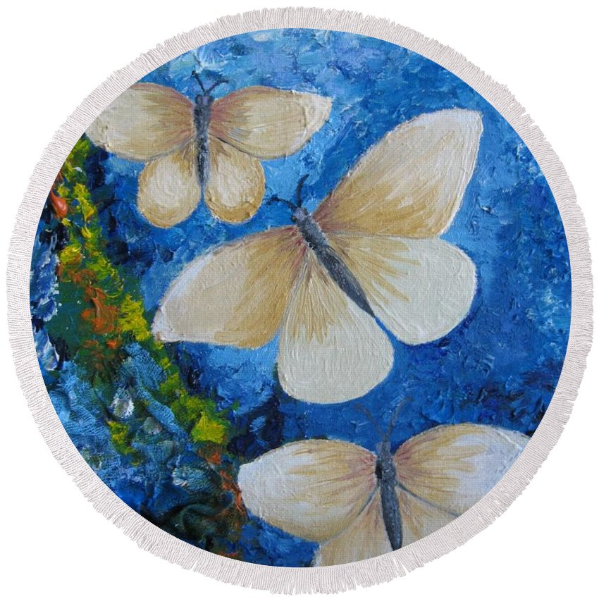 Mixed Round Beach Towel featuring the painting Butterfly In Blue 4 by Stella Velka