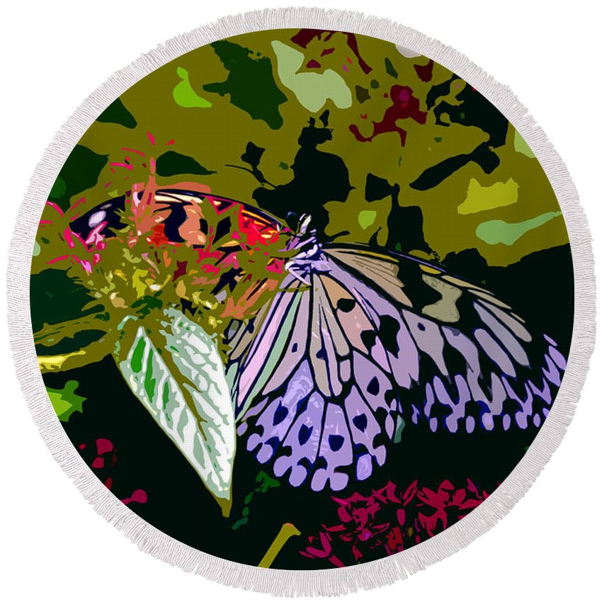 Butterfly Round Beach Towel featuring the photograph Butterfly In Garden by David Lee Thompson
