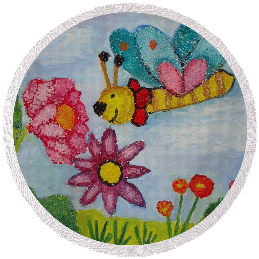 Landscape Round Beach Towel featuring the painting Butterfly In The Field by Ioulia Sotiriou