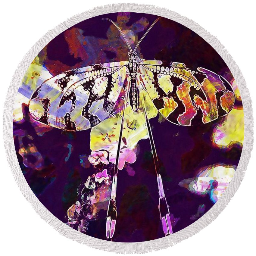 Butterfly Round Beach Towel featuring the digital art Butterfly Insect Black White by PixBreak Art