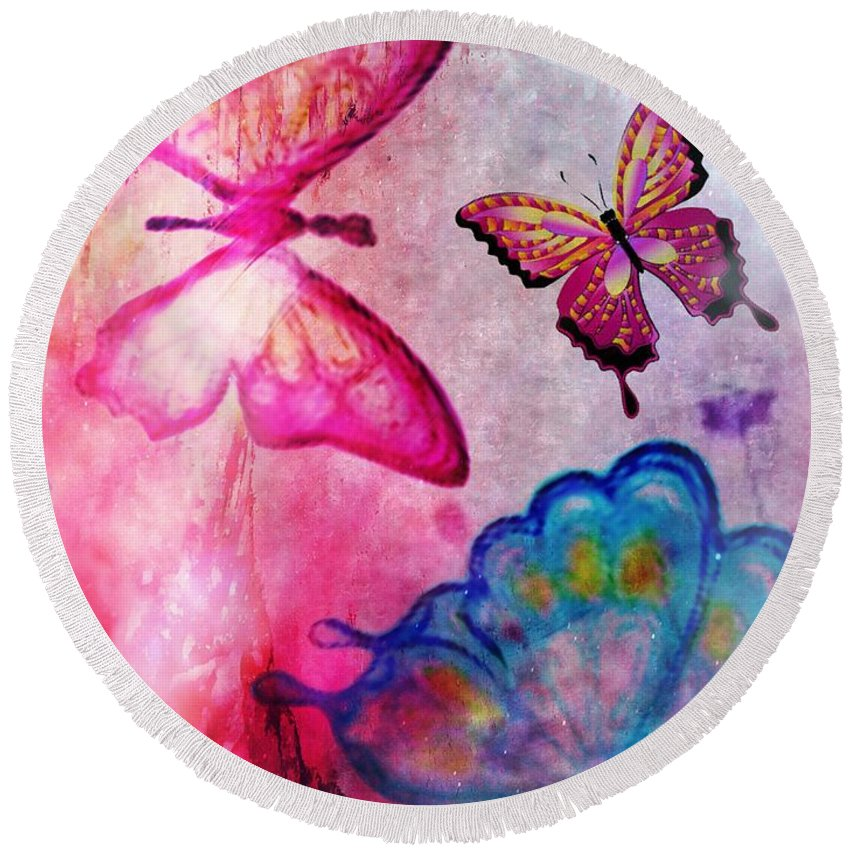 Butterfly Jam Round Beach Towel featuring the digital art Butterfly Jam by Maria Urso