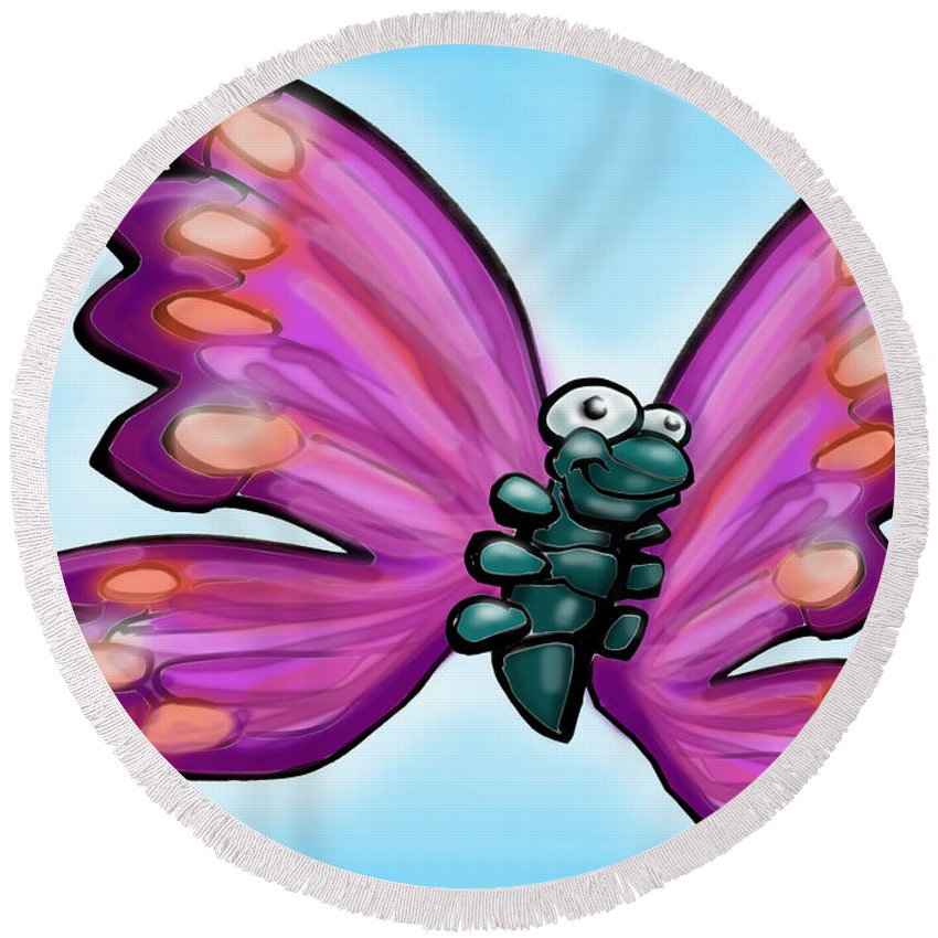 Butterfly Round Beach Towel featuring the painting Butterfly by Kevin Middleton