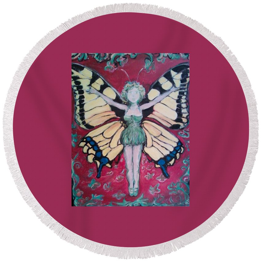 Butterfly Round Beach Towel featuring the painting Butterfly Lady by Todd Artist