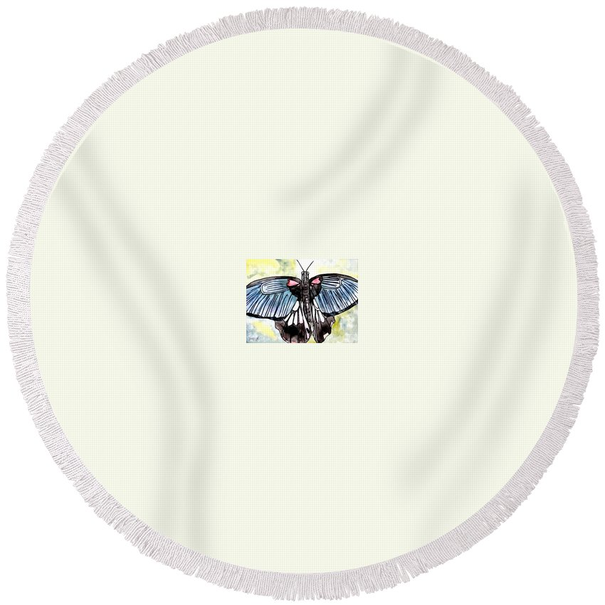 Watercolor Round Beach Towel featuring the painting Butterfly Macro by Derek Mccrea