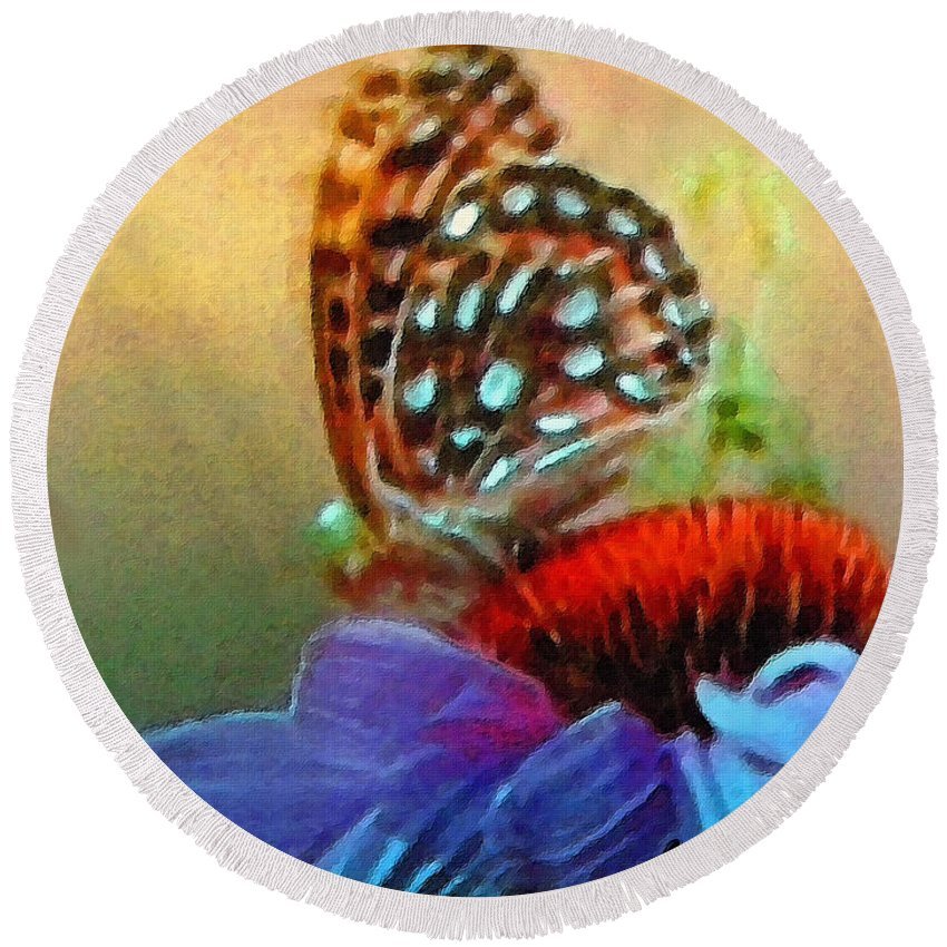 Butterfly Round Beach Towel featuring the painting Butterfly On A Flower by Susanna Katherine
