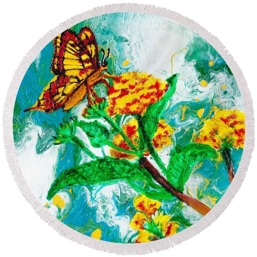 Round Beach Towel featuring the painting Butterfly by Stormy Miller