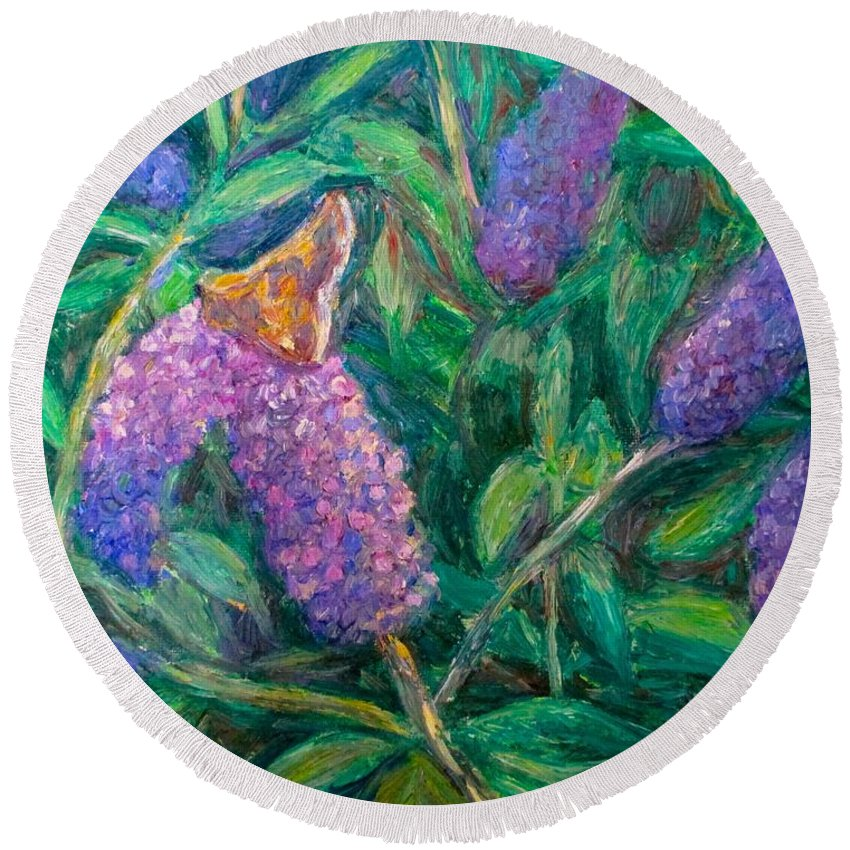 Butterfly Round Beach Towel featuring the painting Butterfly View by Kendall Kessler