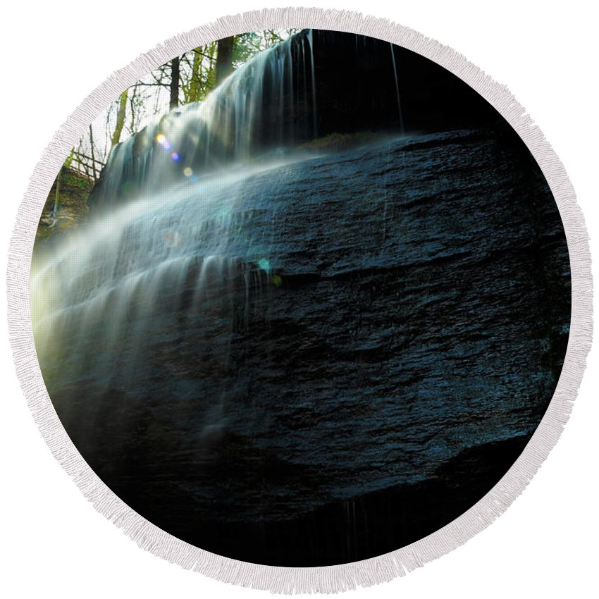 Buttermilk Falls Round Beach Towel featuring the photograph Buttermilk Falls by Joe Barefoot