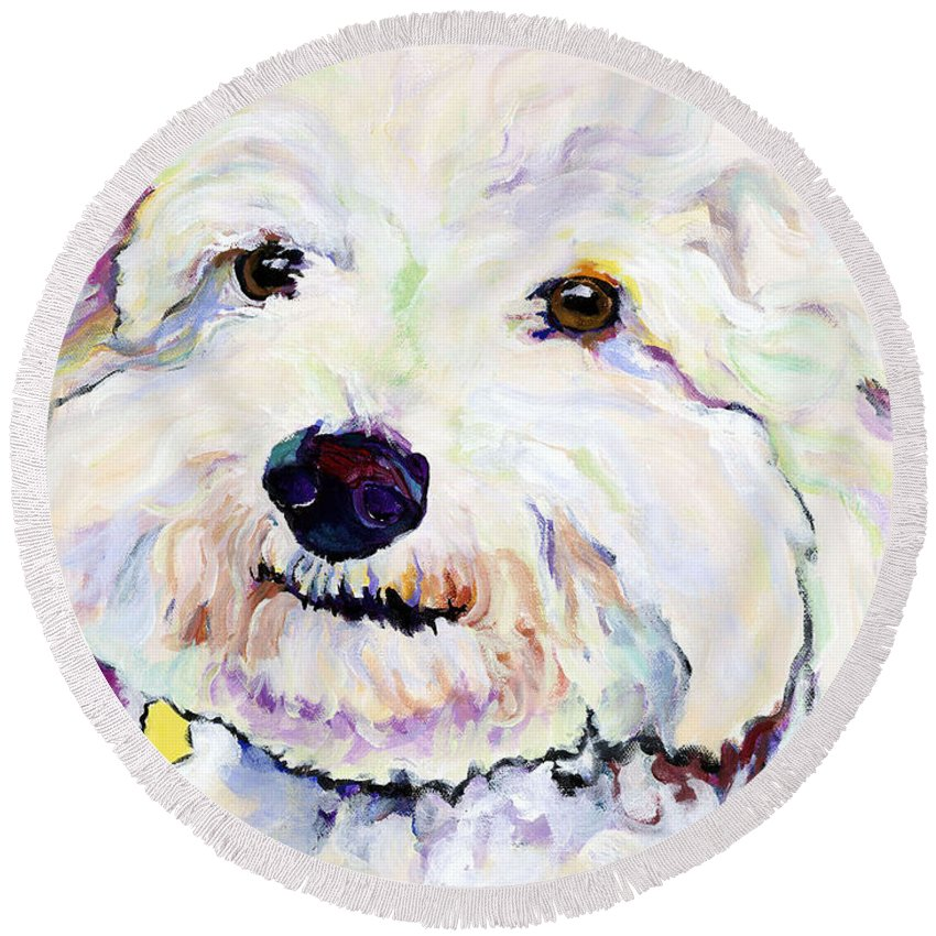 Bischon Round Beach Towel featuring the painting Buttons  by Pat Saunders-White