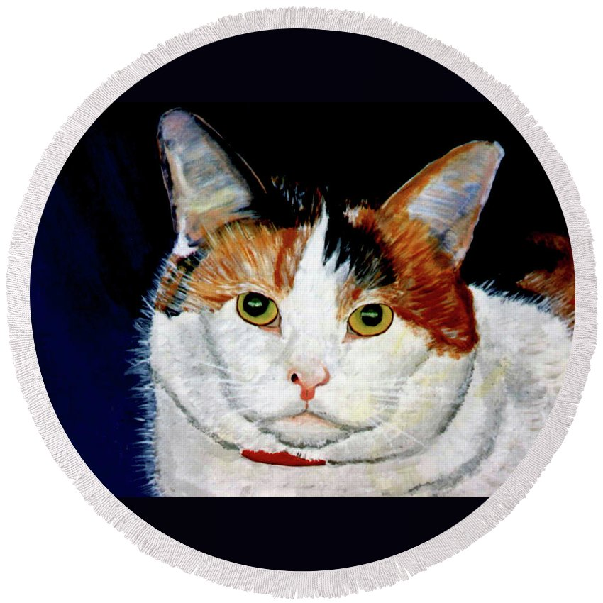 Cat Round Beach Towel featuring the painting Buttons by Stan Hamilton