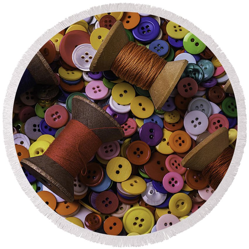 Button Round Beach Towel featuring the photograph Buttons With Thread by Garry Gay
