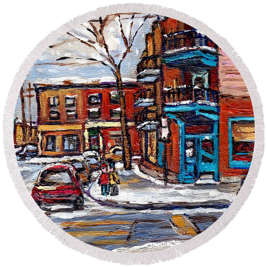 Original Montreal Paintings For Sale Round Beach Towel featuring the painting Buy Original Wilensky Montreal Paintings For Sale Achetez Petits Formats Scenes De Rue Street Scenes by Carole Spandau